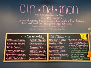 Cinnamon Cafe specialty coffees