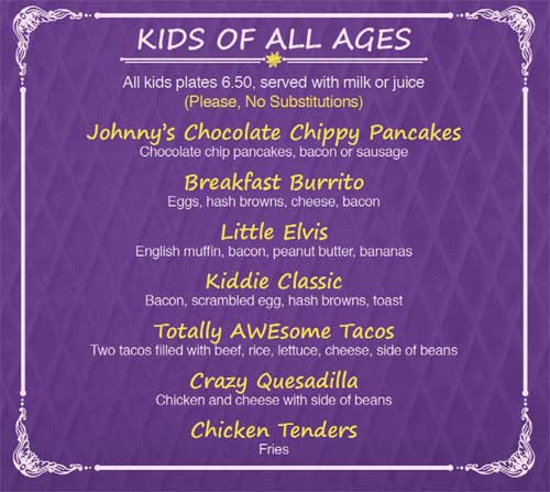 Cinnamon Cafe Mountain Run Kids menu