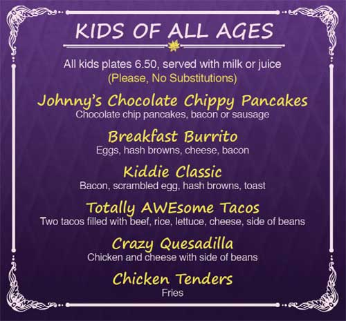 Cinnamon Cafe Nob Hill Kids menu